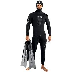 Seac Royal Combinaison de plongée en néoprène avec Capuche pour Homme 7 mm pour l'apnée et la pêche sous-Marine, Homme, 1-82/M, Noir, M