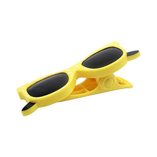 Bobopai Plastic Animal Sun Lounger Beach Towel Wind Clips Sunbed Pegs Pool Towel Clips (Yellow Glasses Shape)