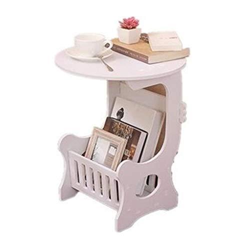 M-JH Table d'appoint, Table Basse de Table d'appoint de Table d'extrémité Ronde, Facile à Assembler du côté canapé de Salon avec étagère de Rangement (Taille : 45CM)