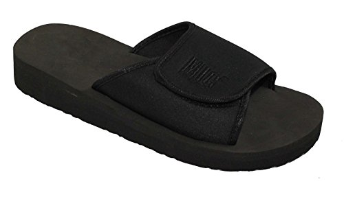 Mens & Boys Velcro Flip Flop Slip On Sandals Size 3 to 12 UK By MIG - SPORTS LEISURE BEACH SHOWER GYM (5 UK MENS, Black (Pure Black))