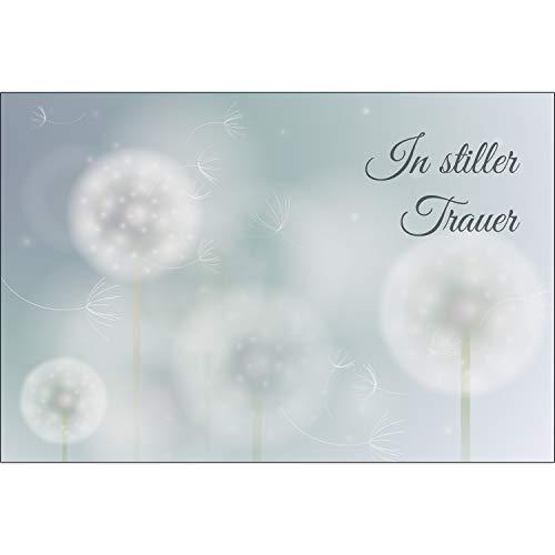 Merz Designkarten 10 Stück einfühlsame Premium-Trauerkarten/Beileidskarten (Pusteblumenmotiv) im Set mit 10 Umschläge - Anteilnahme Trauerkarte, Spruch