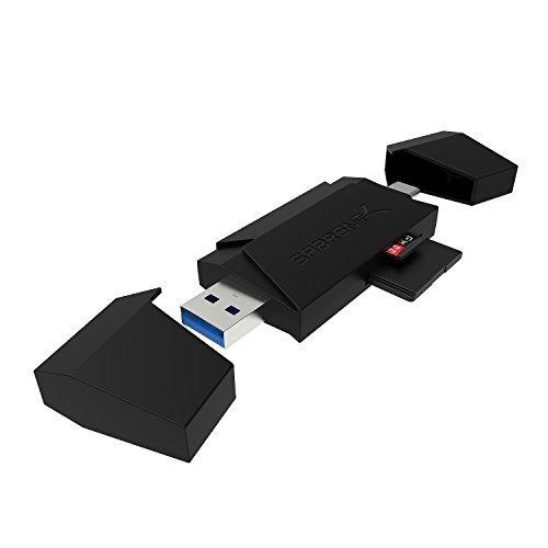 Sabrent Externe Kartenlesegeräte, 2-Slot USB-C OTG und USB 3.1 Flash-Speicherkartenleser für Windows, Mac, Linux + bestimmte Android. Kompatibel: SD, SDHC, SDXC, MMC/MicroSD, T-Flash (CR-UM4C)