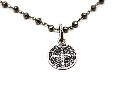 Kokomorocco Colgante Medalla San Benito de Plata de Ley con Cadena Rosario de pirita Regalos Originales