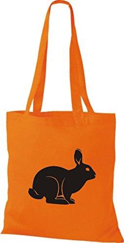 Shirtstown Stoffbeutel Tiere Hase, Rammler, Häschen Orange