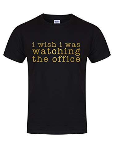 Kelham Print Unisex Youth Slogan T-ShirtI Wish I was Watching The Office Black Small with Gold