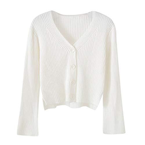 TAMALLU Frauen Sweater Strick Jacke V-Neck Ausgebeult Passform Schlichte Oberteile(Weiß,One Size)