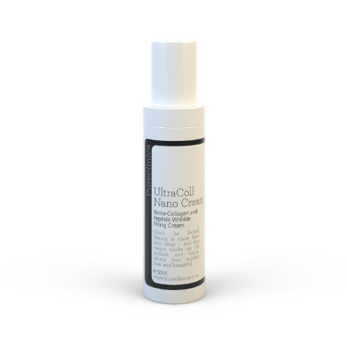 Pureclinica UltraColl nano Collagene Crema. Marine nano collagene crema, the Mondiali solo brevettata anti età collagene crema. Riduce rughe sulle superficie mentre brevettata peptidi ricostruire elastins from all'interno. An super forte versione of Ultracoll nano collagene crema