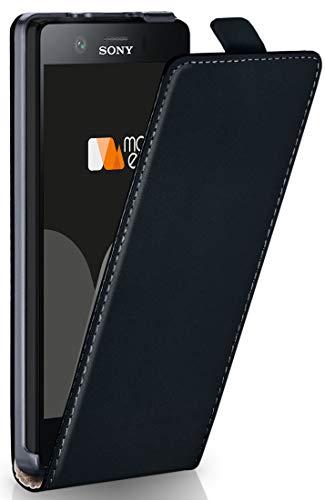 moex Sony Xperia XZ1 Compact | Hülle Schwarz 360° Klapp-Hülle Etui Thin Handytasche Dünn Handyhülle für Sony Xperia XZ1 Compact Case Flip Cover Schutzhülle Kunst-Leder Tasche