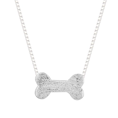 Minimalistische Jewelry 925 Sterling Silber schlichte Lovely Lucky Dog, Bone Puppy Pet Halsketten für Frauen (Lucky-pet-tags)