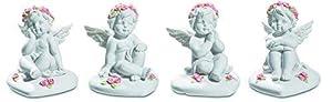 KATERINA PRESTIGE BROHF1595 - Juego de 4 ángeles con Flores sentadas sobre Base de corazón