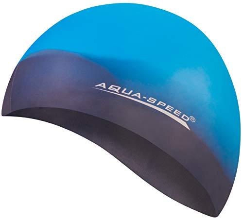 Aqua Speed® Set - BUNT Badekappe + Kleines Mikrofaser Handtuch | Silikon | Bademütze | Badehaube | Schwimmhaube | Erwachsene | Damen | Herren | Kinder, Kappen Designs:03. Bunt / 69
