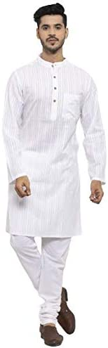 NEUDIS by Dhrohar Cotton Stripe Long Kurta & Churidar Pajama Set For Men- White - Size