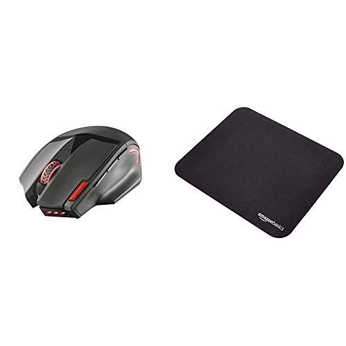 Trust Mouse Gaming Wireless GXT 4130 Pitt con 9 Pulsanti e Pulsante di triplo Fuoco, Illuminato, Nero & AmazonBasics - Tappetino per mouse da gioco