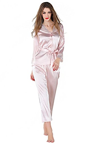 Logeliy Damen Sommer Pyjama Sets Spitze Langarmshirts Hosen Sets Nachtwäsche Nachthemden Schlafanzüge , champagne , m (Set Pyjama Hose Flanell)