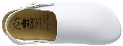 Lico Herren Bioline Clog Classic Flache Hausschuhe Weiß (WEISS)