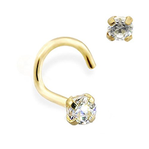Gauge MsPiercing 14K Gold Nose Screw With Round CZ 22 0.6Mm