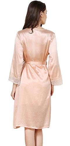 Tulpen Damen 100% Maulbeerseide Schlafanzug Set Klassische Seide Pyjamas Beige