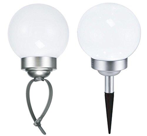 LED Solar Kugelleuchte Solarkugel mit 4 LEDs Ø 15 cm für Boden oder Geländer 1 Stück