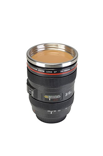 La Chaise Longue Mug isotherme Paparazzi Noir Avec couvercle ABS et inox Design zoom objectif appareil photo 33-1K-004