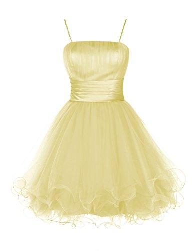 Dresstells Damen Tüll Spaghetti-Trägern Party Kleider Cocktail-Kleider Gelb
