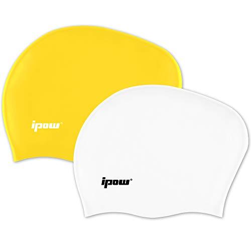ipow 2-Stück Hochwertige Silikon Badekappe Bademütze Badehaube vollkommen für Lange Haare gesund und warm Swim Cap (weiß + gelb)
