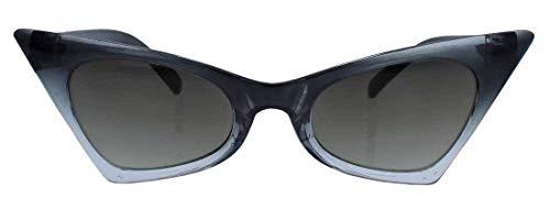 50er Jahre Fashion Brille Cat Eye Modell Klarglas ohne Stärke Vintage Nerdbrille mit Farbverlauf CN13 (Sonnenbrille/Schwarz Ombre)