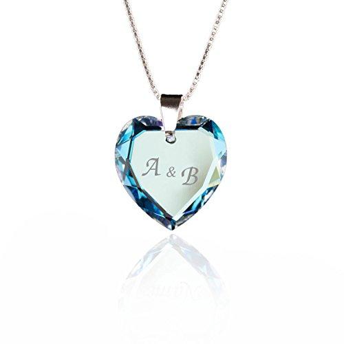 Damen Halskette 925 Sterling Silber mit SWAROVSKI ELEMENTS Herz Anhänger Blue AB individuell gestalten - Gravur Halskette Mit