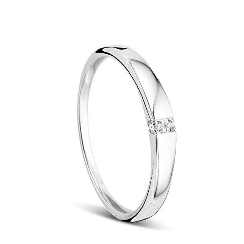 Orovi Damen-Ring Memoire HochzeitsringWeißgold 9 Karat (375) Brillianten 0.02 carat Verlobungsring Diamantring (Diamant Ring Damen Weißgold)