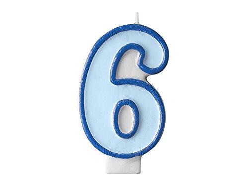 Geburtstagkerze Kuchendeko Geburtstag babyblau blau 6 (Zahl 6) (Geburtstagskerzen Zahl 6)