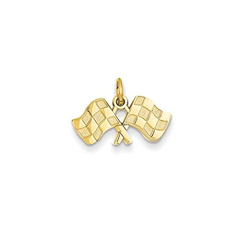 Black Bow Jewellery Company : Checkered Racing Flags Charm in 14 Karat Yellow Gold