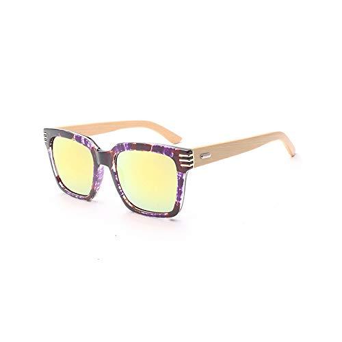 PC Frame Bamboo Wood Bamboo Glasses Handgefertigte Sonnenbrille mit Bambusbeinrahmen Brille (Color : Gold, Size : Kostenlos)
