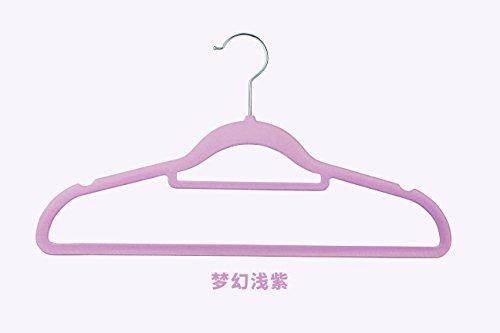 SQYJ Japanischen Stil Rutschfeste Beflockung Kleiderbügel, Keine Spur von Kleidung, Haushalt Kleidung, 42 cm Kleiderschrank, 10 Kleiderschrank, Samt unterstützen, 10, Hell-Lila 42 cm