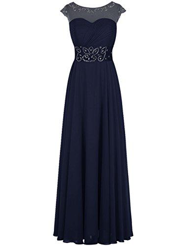 Dresstells Damen Bodenlang Jugendlich Brautjungfernkleider Abendkleider Marineblau