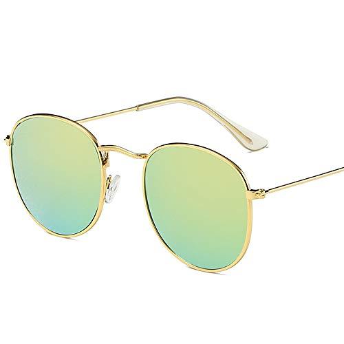 Retro Sonnenbrille Hipster wilde Farbe Film Sonnenbrille Mode runden Rahmen Sonnenbrille flache Stück weiße Füße Set Silberrahmen hellgrünen Film Standard