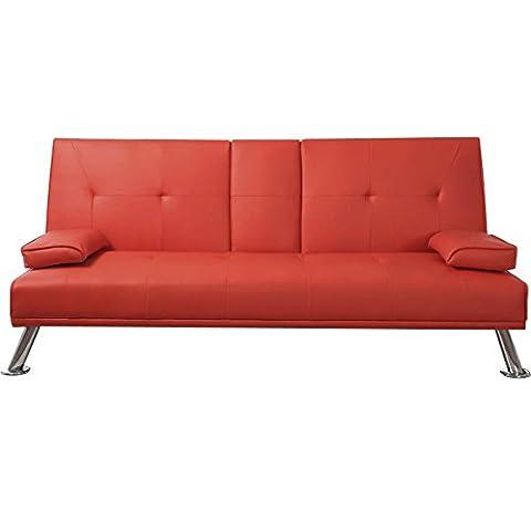 Popamazing moderne double Canapé-lit Imitation cuir chaise pliante de lit invités Z Canapé futon Lit Matelas Pliant Table pliante avec support boissons, rouge,