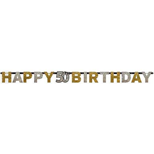 Party-Girlande * HAPPY 50TH BIRTHDAY * für Kindergeburtstag und Motto-Party (Happy-birthday-banner 50)