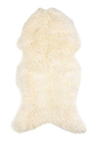 Lammfell Schaffell echt Weiß NATUR optik Läufer Sitzauflage Abdeckung Warmer schaffell xxl (Haut-teppich)