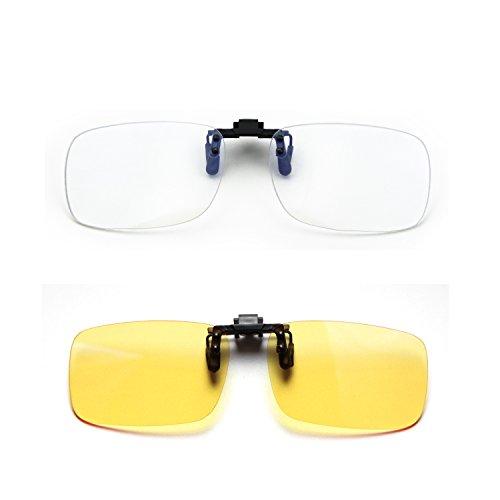 Cyxus (2er Pack) Blauer Lichtfilter Clip-on Computer Lesebrillen, UV-Blocking Anti Eye Strain Unisex Eyewear 1 Transparente Linse und 1 Gelbe Linse