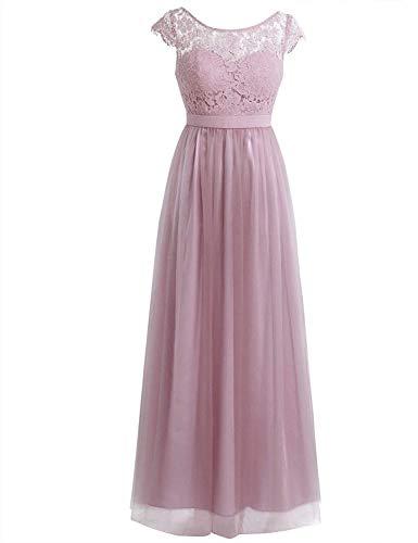Elodiey Damen Cocktailkleid Partykleid Sommerkleid Langes Brautjungfer Faltenrock Hochzeitskleid Business Spitzenkleid Abendkleid Festlich Kleid (Color : Dusty Rose, Size : 3XL) -