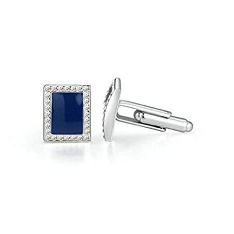 Aooaz Sterling Silver Cufflinks Square Blue Crystal Rhinestone Cuff Links