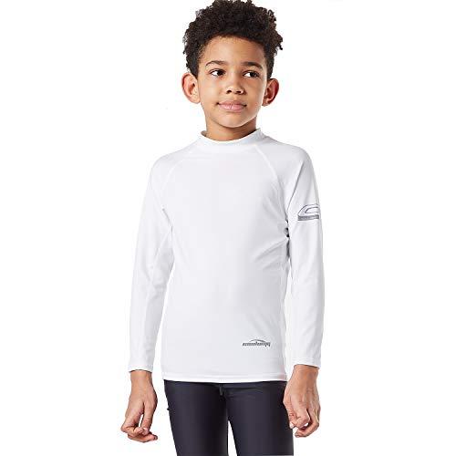 Jungen Rash Guard Shirt (COOLOMG Jungen Badeshirt UV Sonnenschutz UPF 50+ Rash Guard Crew Shirt Langarm Schwimmshirt Wassersport Surfen Basic Skin Weiß S)