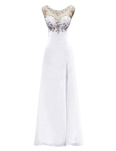 Dresstells, Robe de soirée Robe de cérémonie Robe de gala longue avec paillettes col rond dos nu sans manches Blanc