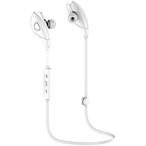 Blanco,Koly Bluetooth estéreo inalámbrico Deportes Auriculares manos libres para el teléfono