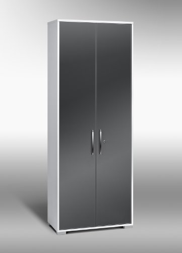 MAJA-Möbel 1232 3974 Aktenregal mit Türen, Icy-weiß - grau Hochglanz, Abmessungen BxHxT: 80 x 214,5 x 40 cm
