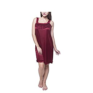 Fashion Xposed Women's Frill Style Work on Front with Lace Nightdress