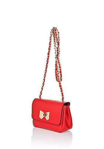 """Show Some Love """"Martina"""" Italienische Damen-Handtasche Schulter-Umhänge-Tasche Echt-Leder made in Italy Rot"""