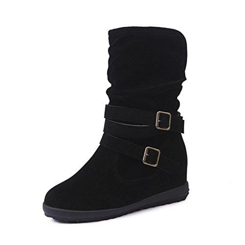FEITONG Frauen Stiefel Damen Stiefeletten Winter Freizeit Wasserdicht Schuhe Anti-Slip Warm Winterstiefel Schuhe (EU:39=CN:40, Schwarz) -