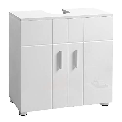 VASAGLE Waschbeckenunterschrank, Badezimmerschrank mit Doppeltür und verstellbaren Ablagen, Unterschrank mit Scharnierdämpfung und Nivellierfüßen, 60 x 30 x 60 cm, weiß BBK02WT