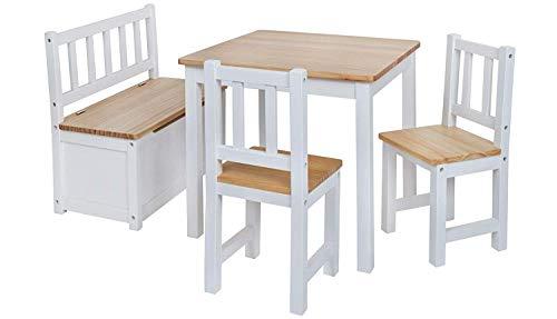 Babyday ® salotto per bambini | 1 tavolo, 2 sedie, 1 cassapanca | pino nordico | mobili di massima qualità per camerette | set completo di mobili per bambini incl. panca con contenitore | 4 colori a scelta