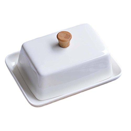 Porteur de porcelaine blanche au beurre au fromage au fromage avec couvercle